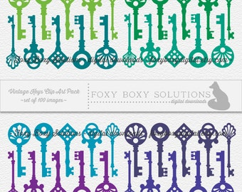 Skeleton Key Digital Clipart - Printable - Instant Download - Set of 100 Vintage Key Clip Art for Personal & Commercial Use