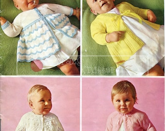 Baby Matinee Coats 17-20in 3ply Patons SC126 Vintage Knitting Pattern PDF instant download