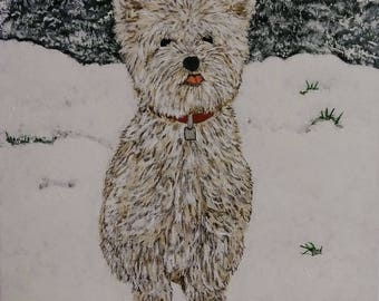Puppy in the snow - 11 x 14