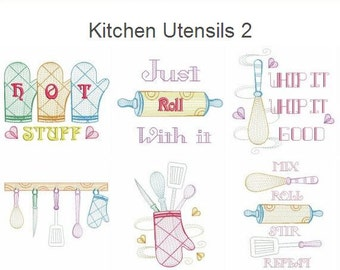 Kitchen Utensils 2- Cooking Tools Machine Embroidery Designs Instant Download 4x4&5x7 hoop 12 designs APE2194