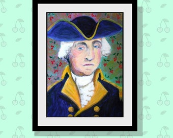 George Washington Portrait Art Print - Limited Edition 10 x 14 Founding Father - USA President - American Revolution - Presidents Day