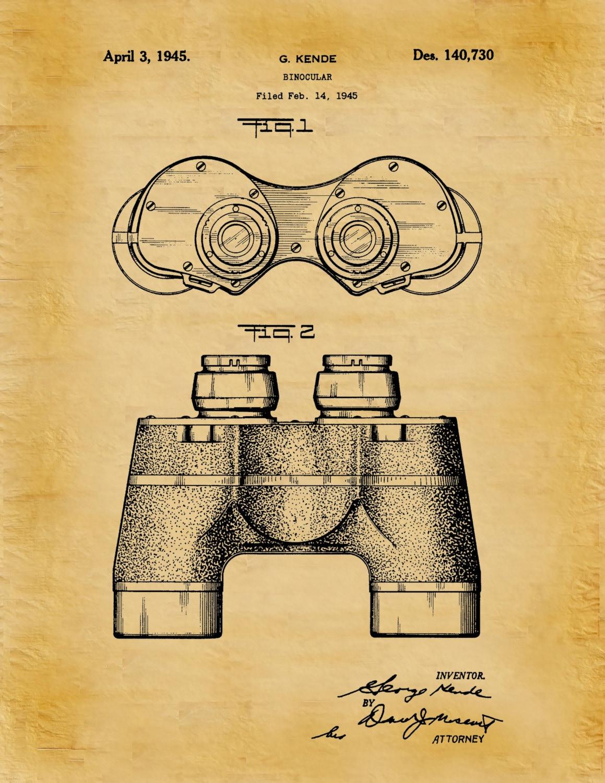 Patent 1945 Binocular - Art Print - Poster Print - Wall Art - Bird ...