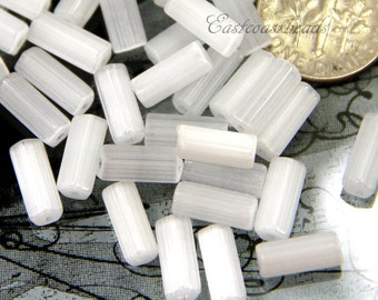Tube Beads, 10x4mm, White w/Satin Finish, Atlas Beads, Faceted Beads, Accent Beads, Spacer Beads, Czech Beads, 30 Pieces, 0126