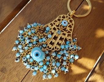 Evil Eye Beaded Gold Hamsa Keychain