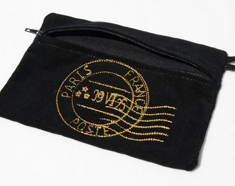 Black Paris Postmark zippered purse