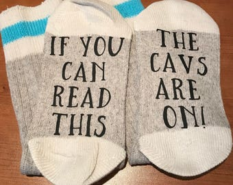 If you can read this, the cavs are on! Adult socks, printed socks, professor gift, stocking stuffers, nba, cleveland cavaliers, basketball
