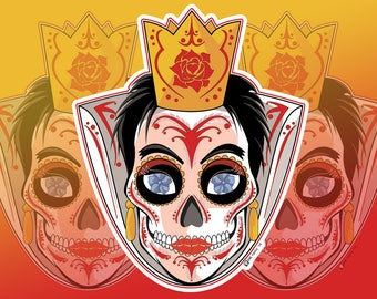 Queen of Hearts Sugar Skull Vinyl Sticker