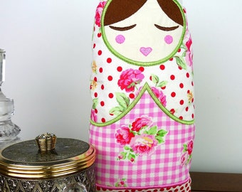 Anoushka Babushka Doll Toy 10inch In The Hoop Project Applique Machine Embroidery Design Pattern