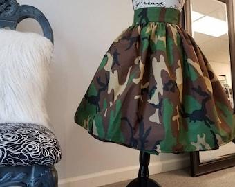 Unique Camo Print Midi Length Skirt Camouflage Midi Skirt