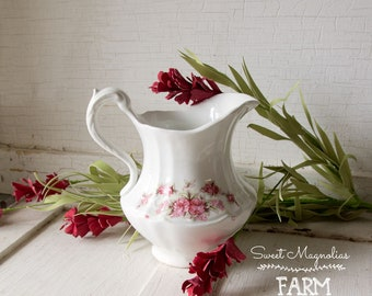 Antique Victorian White Pitcher - Pink Roses - Shabby Chic Cottage Style