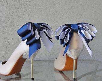 Bridal Party Hochzeit Navy Blue And White Bow Shoe Clips von zwei weiteren Farben erhältlich Set