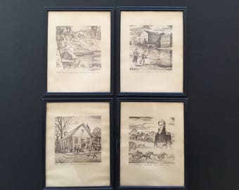 Set of 4.  Huntsville Firsts prints by CE Monroe