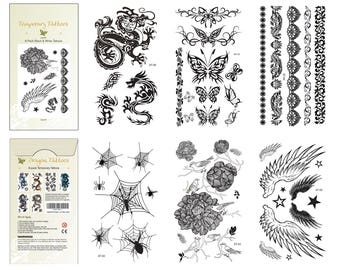Supperb® 6-pack Halloween B&W Spider Dragon Angel Wings Rose Tribal Butterflies Tattoos Temporary Tattoo