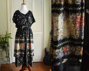 Black Floral Chiffon Tiered Dress - black 70s dress - 1970's sheer dress - flowers and roses