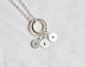 circle of love necklace, mom necklace, grandma necklace, personalized necklace, hand stamped necklace, my tribe necklace, family necklace