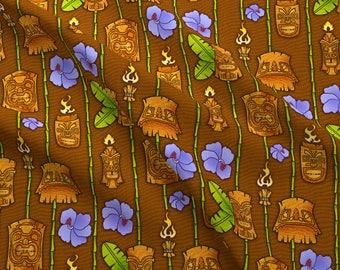 Tiki Heads Fabric - Tiki 1 By Jadegordon - Summer Hawaiian Tropical Tiki Island Totem Cotton Fabric By The Yard With Spoonflower