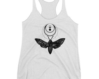 Moth & Crescent Moon Tank Top, Women's Graphic Shirt Racerback Top, Insect Clothing, Witch Aesthetic