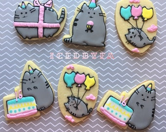 Pusheen the Cat Sugar Cookies | perfect for birthdays and party favors | 1 dozen