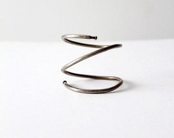 coil arm cuff, vintage spiral bracelet, wrap around bracelet
