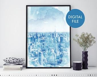 Tokyo City Skyline Watercolour Print Wall Art   Print At Home   Digital Download File