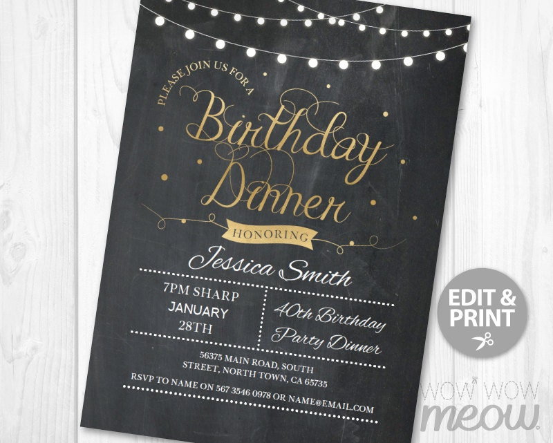 BIRTHDAY Dinner Party Invite INSTANT DOWNLOAD Any Age 30th