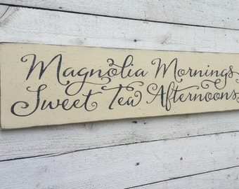 Magnolia Mornings Sweet Tea Afternoons, rustic farmhouse kitchen decor, fixer upper sign, large distressed 9 x 36 wood sign, southern saying