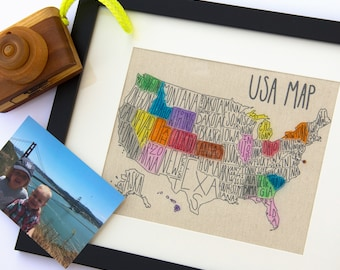 USA Travel Map, Family Vacation, Gallery Wall, Travel, Traveling Friend, Second Anniversary Cotton Gift, Sales Map Tracker, United States