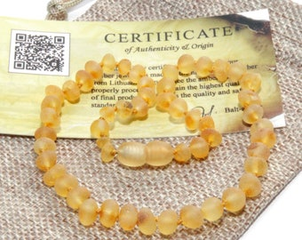 Baltic Amber Teething Necklace - RAW Beads Unpolished Rounded - Genuine Amber For Baby - Amber Baby Necklace - Jewelry With Certificate