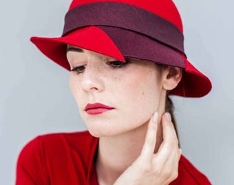 "Cloche, Felt hat, wool felt, vintage style, Cut detail, winter hat, ""Greta"", modern vintage"