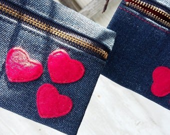 Handmade felt heart coin purse