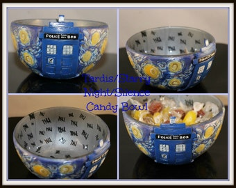 Tardis/Starry Night/Silence Polymer Clay Covered/Handpainted Candy Bowl