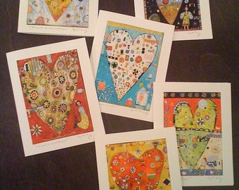 Six assorted heart cards