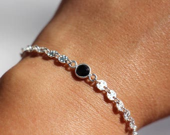 Sterling silver sequin chain bracelet - Black onyx stone bracelet - Sequin disc chain bracelet - Round disc circle chain-textured disc chain