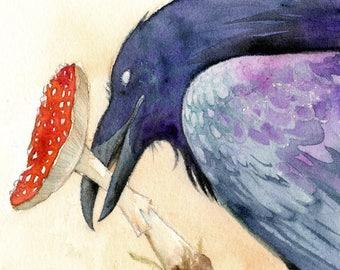 THE OFFERING ※ Northern Raven Amanita Mushroom Shaman Fly Agaric Viking Crow Stick Eye Magic Woodland Otherworld Art Print