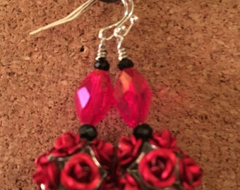 Handmade Dangle Earrings Made With Glass, Metal and Acrylic Beads in Red and Black