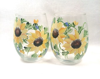 Free shipping Stemless hand painted sunflower pair of wine glasses