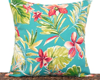 Tropical Floral Pillow Cover Cushion Outdoor Turquoise Red Orange Green Palm Leaves Beach Decor Coastal Decorative 18x18