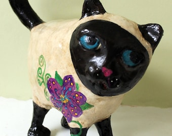 Paper Mache Cat Sculpture - Tinger the Siamese Cat
