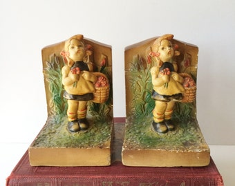 Chalkware Bookends, Vintage Hummel Style, Girl With Basket of Flowers, Reproduction Nursery Playroom Decor