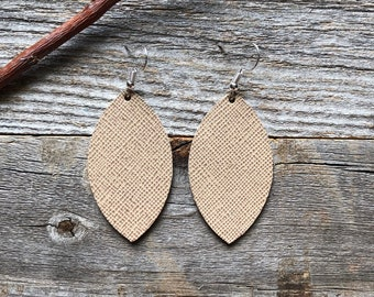 Tan Saffiano Leather Earrings