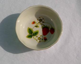 vintage strawberry jam dish or trinket dish