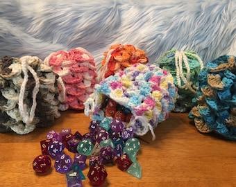 CUSTOM Crochet Dragon Scale Dice Bags