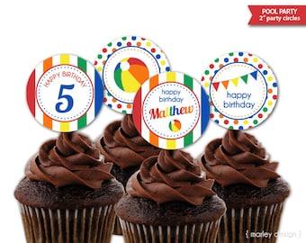 Personalized Pool Party Cupcake Toppers Printable 2 Inch Circles Birthday Tags Digital PDF DIY Beach Splash Decor