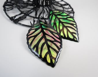 Bright Iridescent & Transparant Leaf Earrings