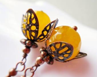 Yellow jade earrings retro antiqued copper dangle earrings romantic gift for women flowers orange dandelion honey yellow jade stone gemstone