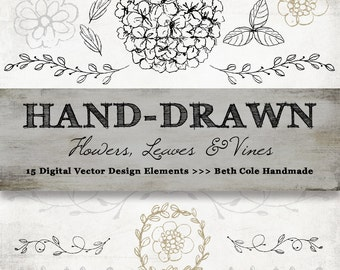 Rustic Hand Drawn Flowers, Leaves and Vines Vector Art, Instant Download, High Resolution Printible Digital Graphics