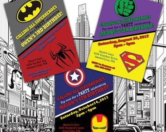 Super Hero Birthday Invitation, 5x7 DIGITAL