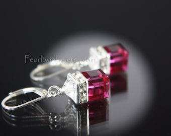 Fuchsia Crystal Earrings, Fuchsia Swarovski Earrings, Mother's Day gift for her under 50 30, Pink Swarovski Crystal Earrings, Fuchsia