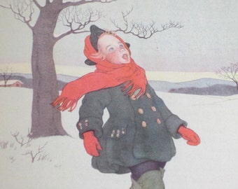 Vintage Illustration, Boy In Snow, Marjorie Torrey Art, 1940s Color Illustration, Singing Boy, 1946 Sing in Praise, Caldecott Honor Book