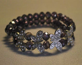 Butterflies and purple crystal beads